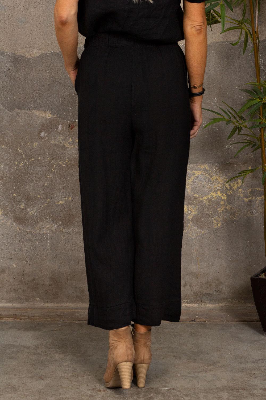 Linen trousers - Tie belt - Black