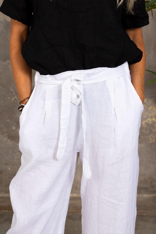 Linen trousers - Tie belt - White