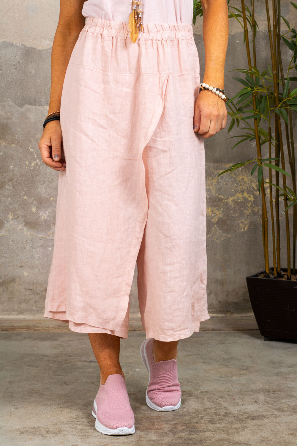 Linen trousers - Wrap - Old pink