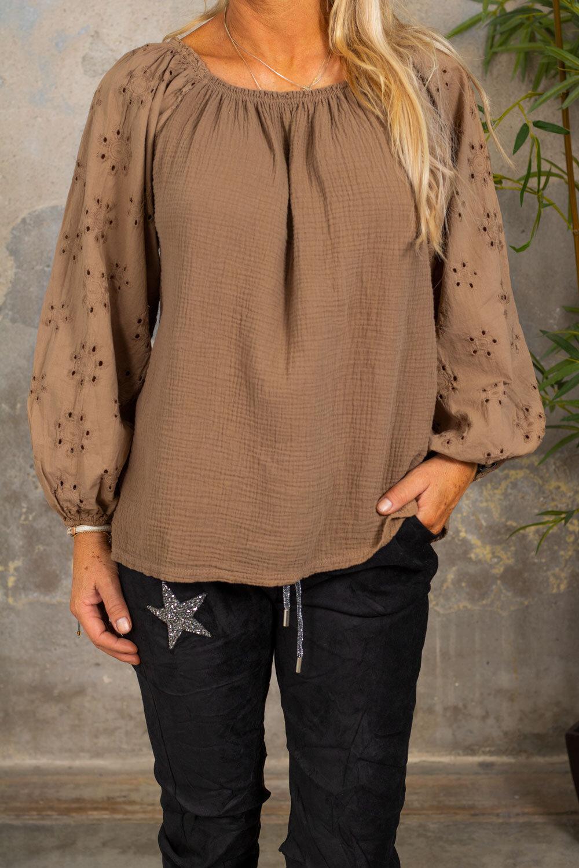 Lisbeth Tunic - Lace Sleeves - Mocca