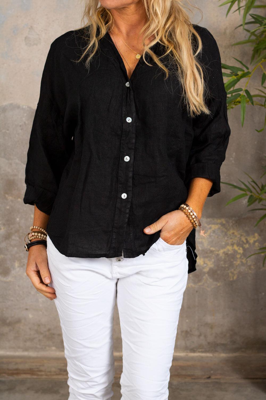 Mabel Linen Shirt - Black