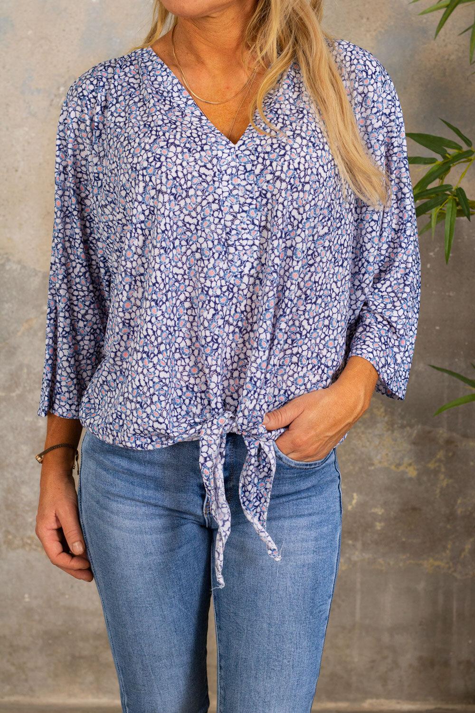 Macy Top - Floral Pattern - Blue