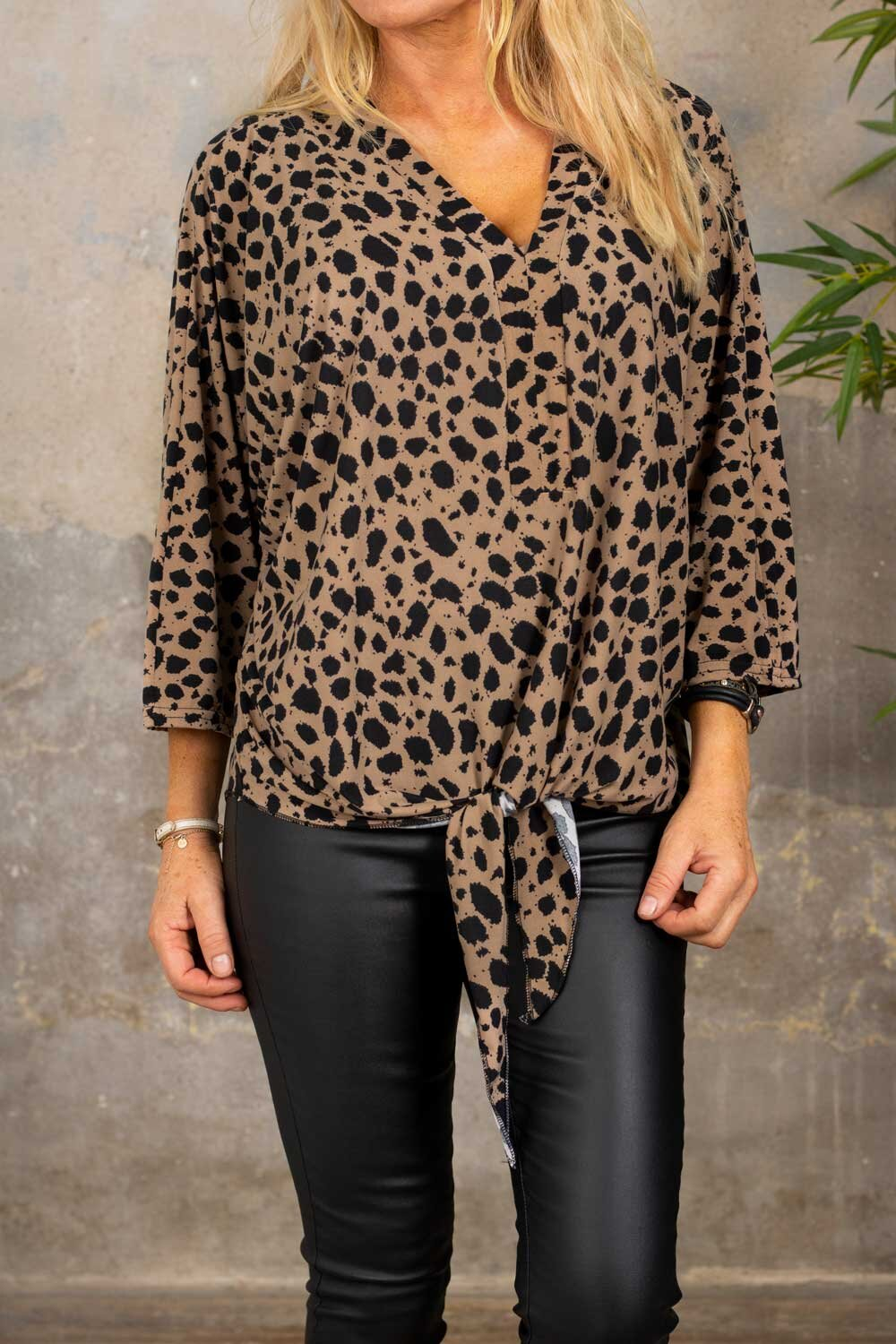 Macy Top - Leopard Pattern - Taupe