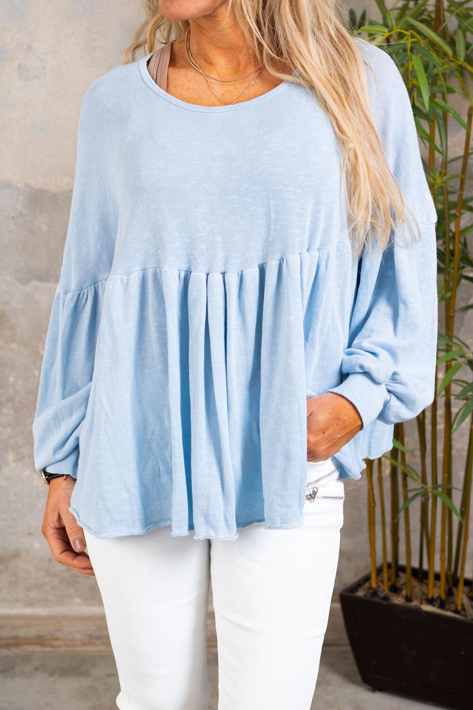 Malin Knitted tunic - Ruffles - Sky blue