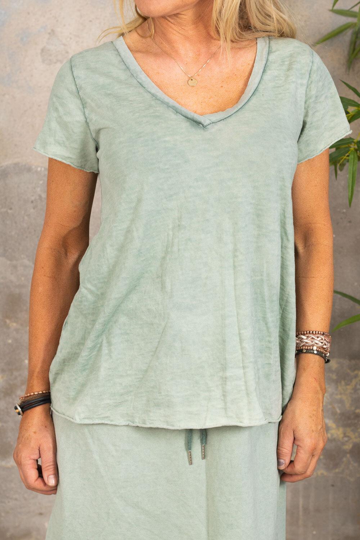 Marina - V-neck T-shirt - Khaki