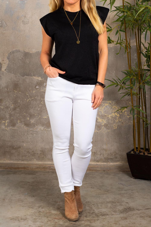 Martina shimmering top - Shoulder pads - Black