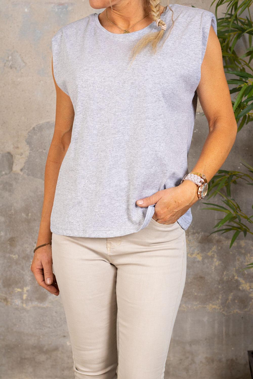 Martina top - Shoulder pads - Gray