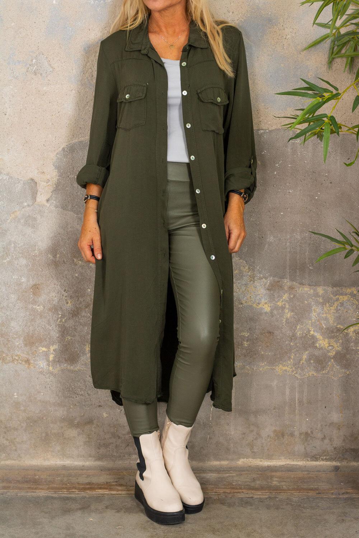 Nadja Long Shirt - Solid - Army green