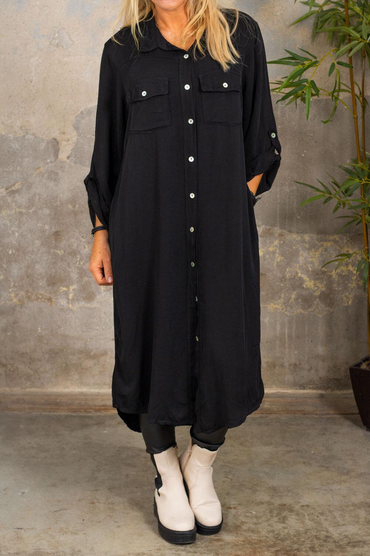 Nadja Long Shirt - Solid - Black