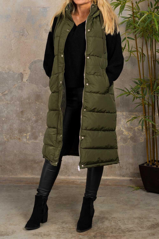 Naima Long padded vest - Khaki