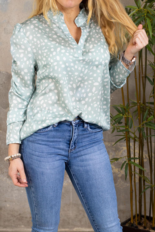 Nanne blouse - Dotted - Mint green