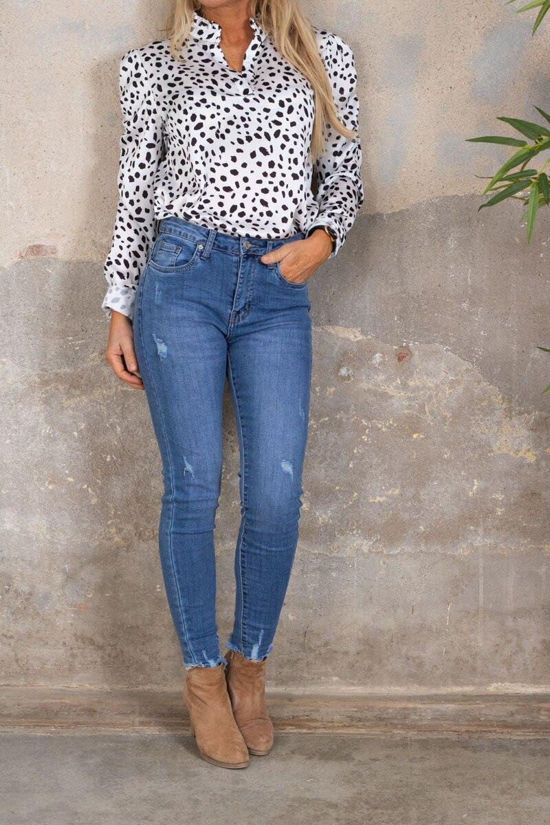 Nanne blouse - Dotted - White