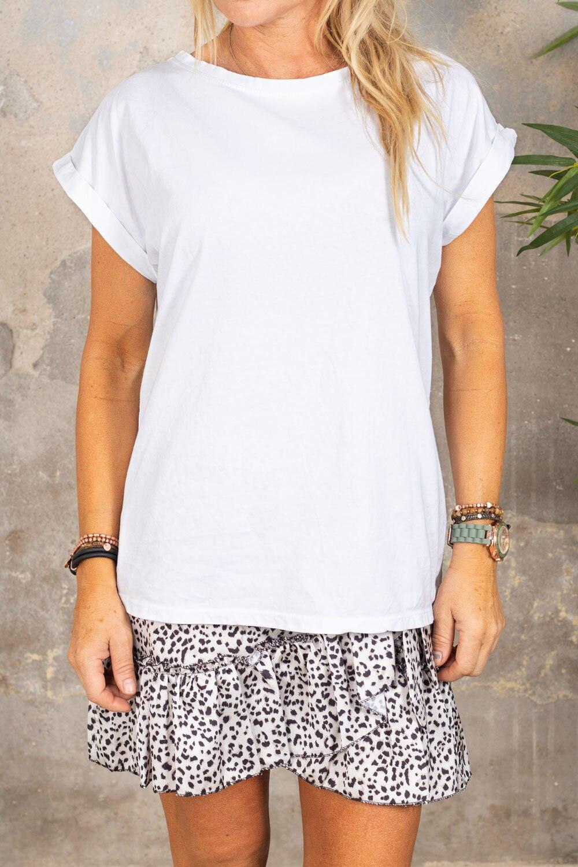 Odette T-shirt - folded up sleeves - White