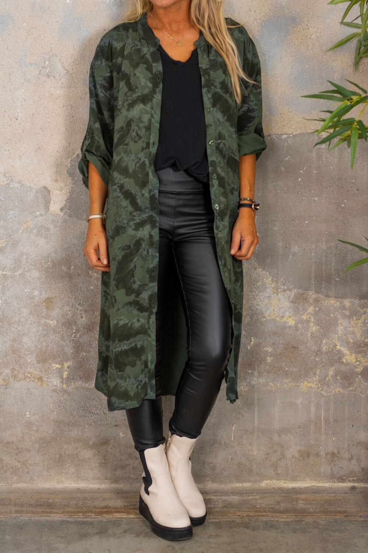 Padma Long Shirt - Patterned - Khaki