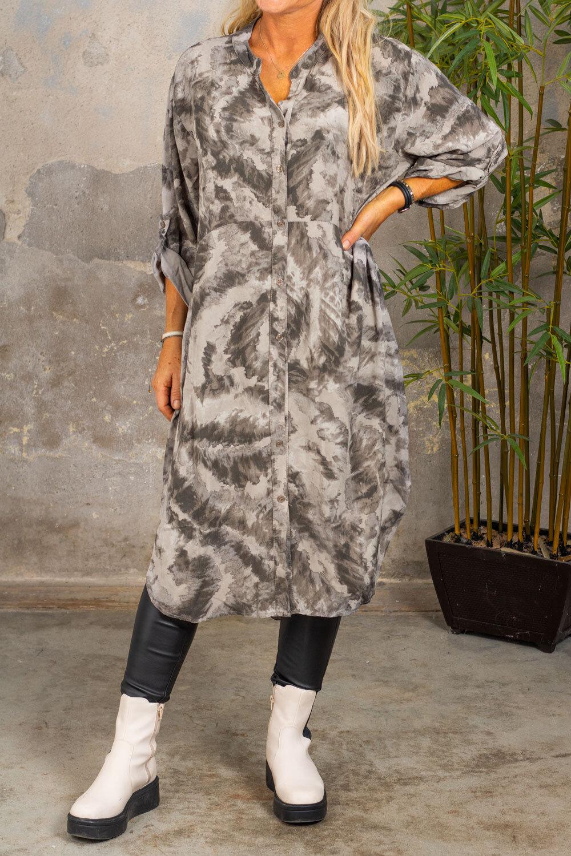 Padma Long Shirt - Patterned - Taupe