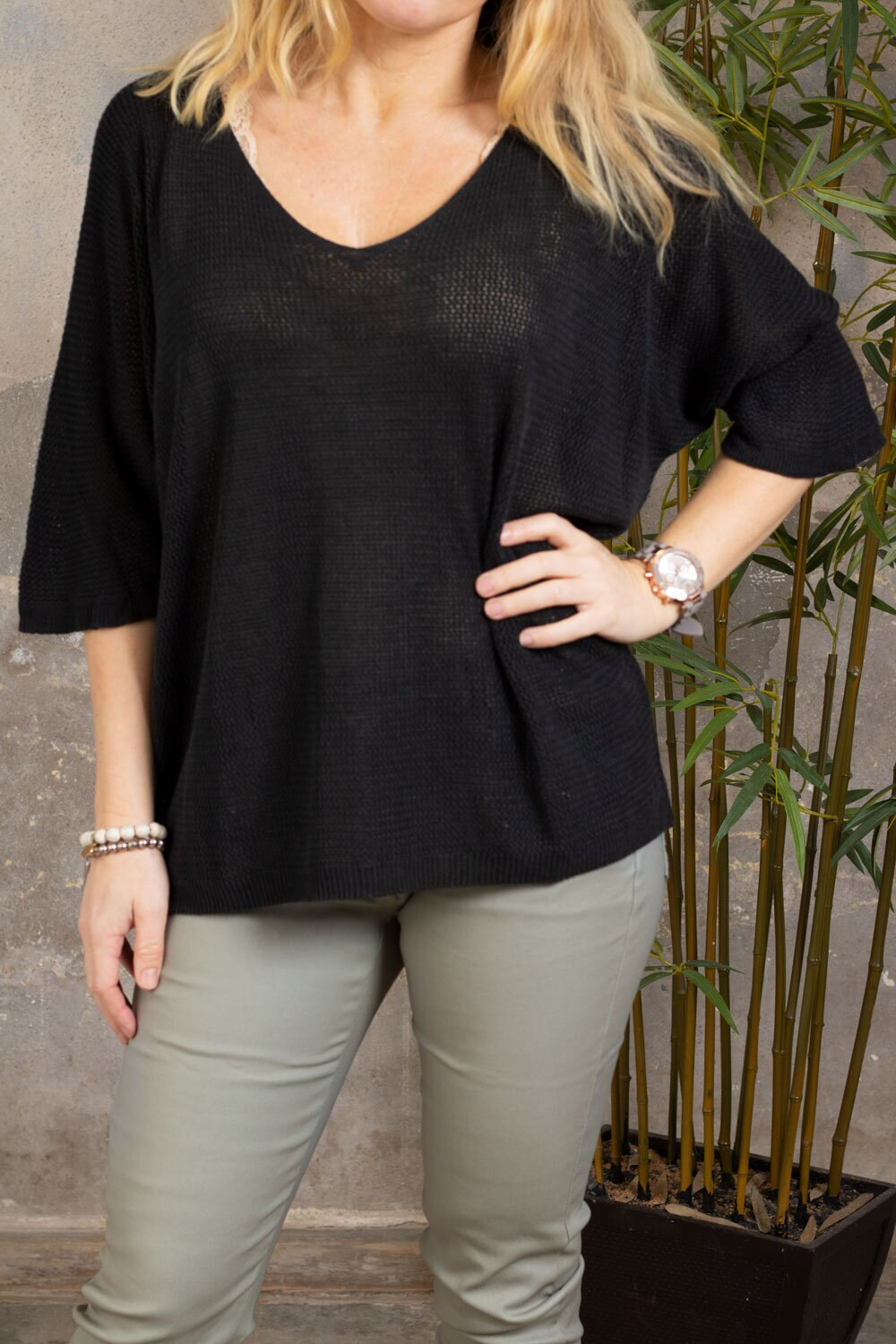 Padma Top - Sparsely knitted - Black