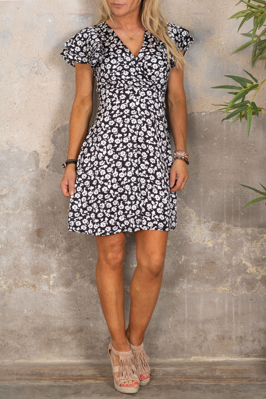 Paloma dress - Flowers - Black
