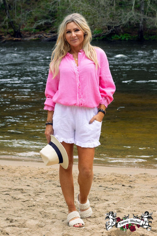 Petra blouse - Lace details - Cerise