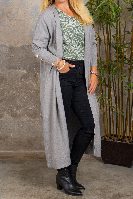 Phoebe Long Cardigan - Buttons - Grey