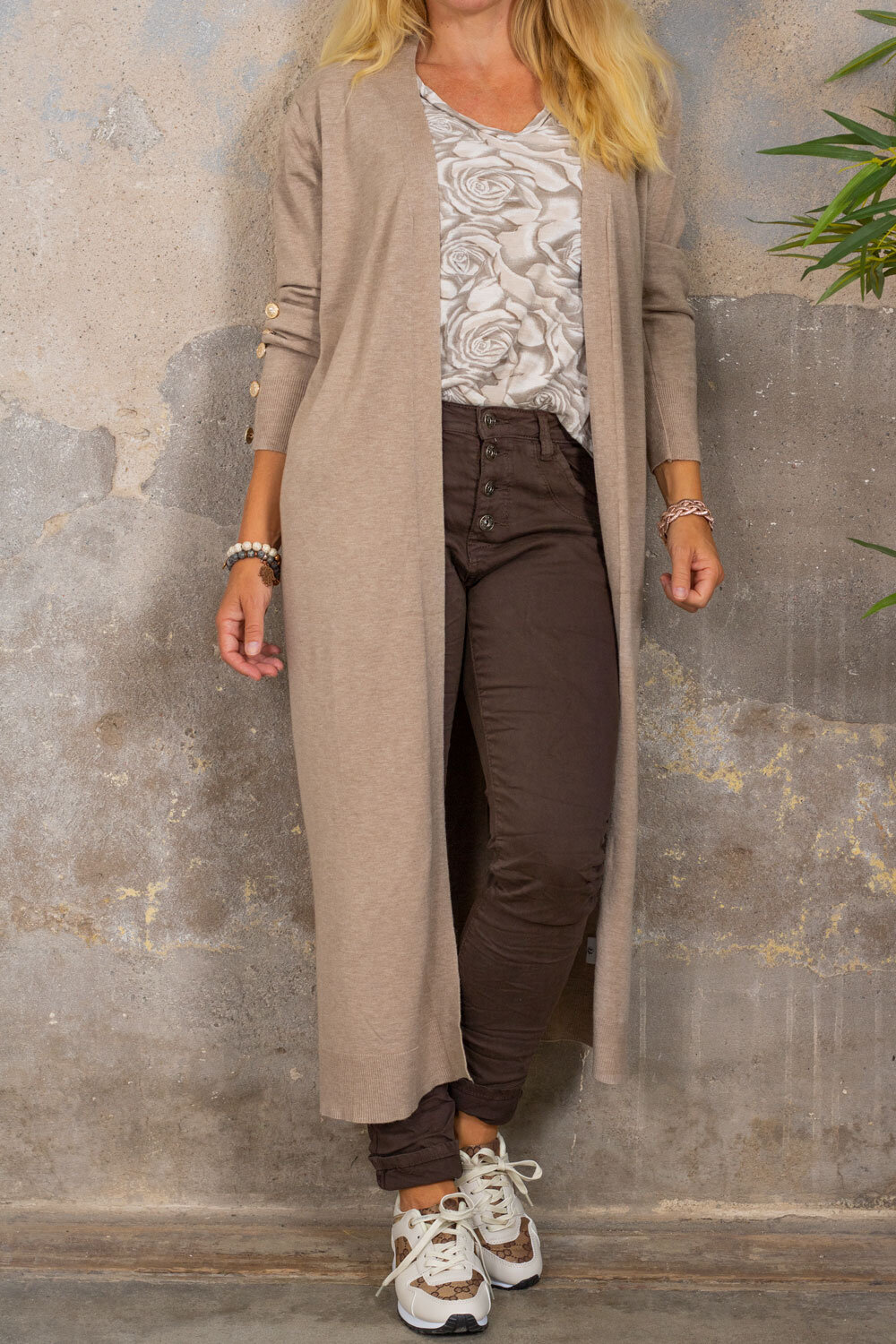 Phoebe Long Cardigan - Buttons - Taupe