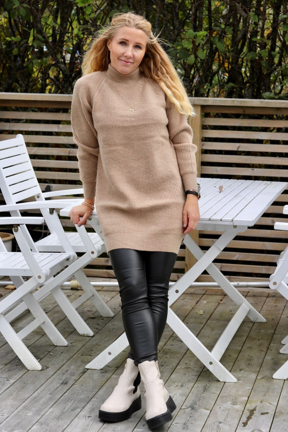 Pixie long knit sweater - Sand
