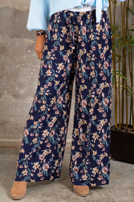Pleated trousers - Flowers - Marine