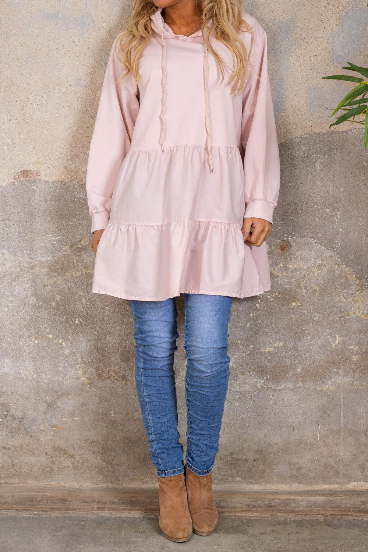 Quinn Long shirt - Ruffles - Light pink