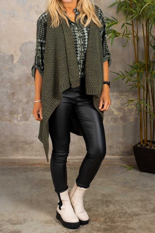 Riley - Moss knitted vest - Khaki