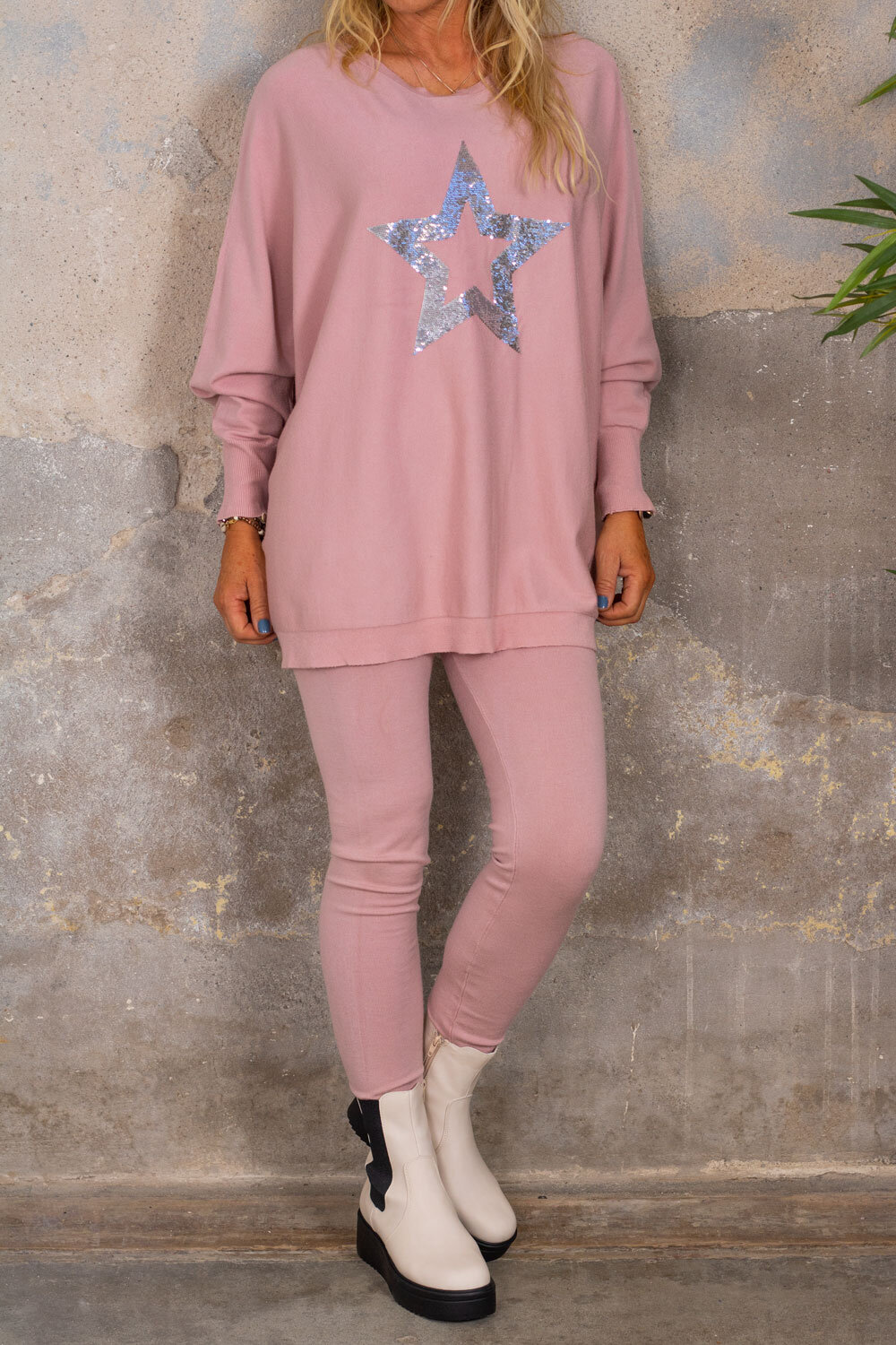 Sally - Knitted set - Star - Pink