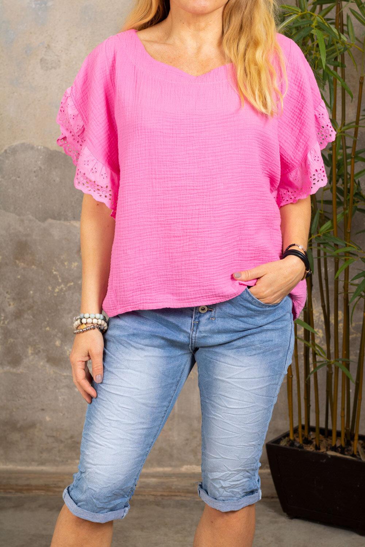 Sasha top - Lace sleeves - Cerise