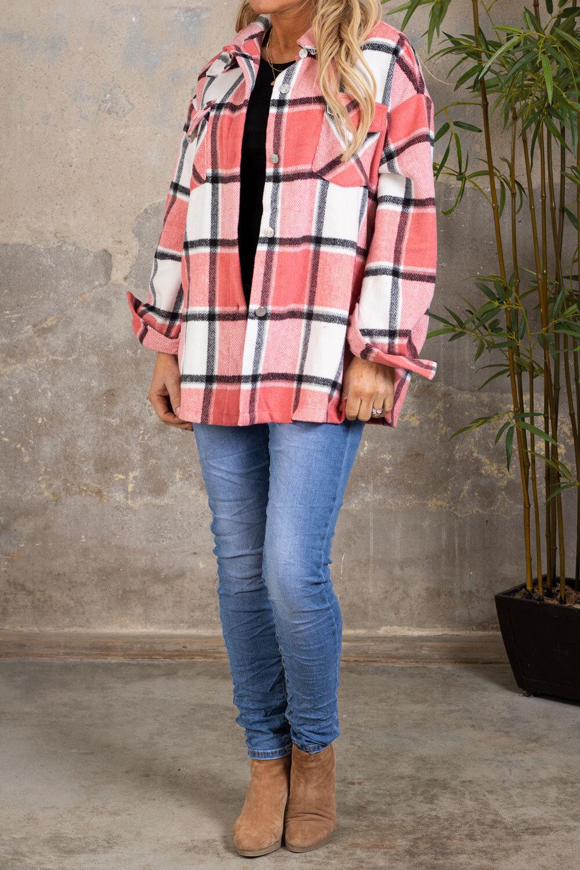 Shirt jacket - Checkered - Coral pink