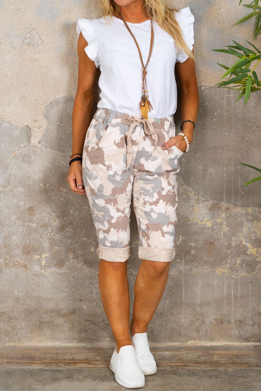 Stretch Shorts - Camouflage - Beige