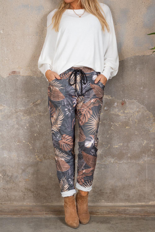 Stretch pants - Leaf pattern - Gray / Rust