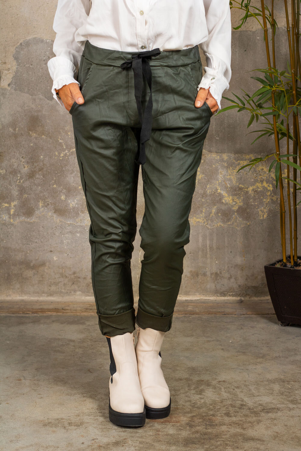 Stretch Pants - Waxed - Army green
