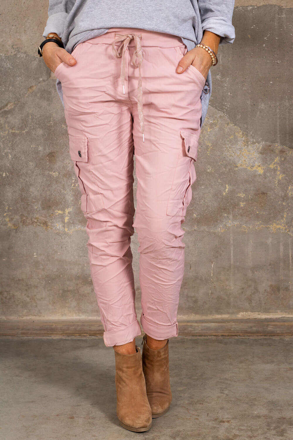 Stretchy Cargo Pants - Pink
