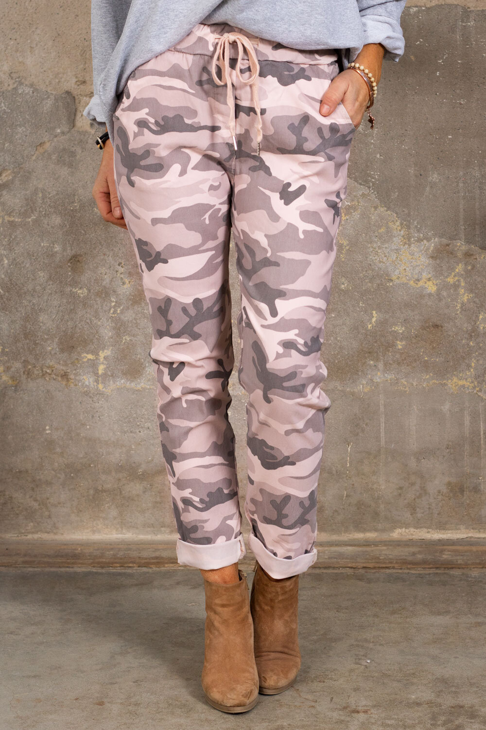 Stretchy pants 3385 - Camouflage - Pink