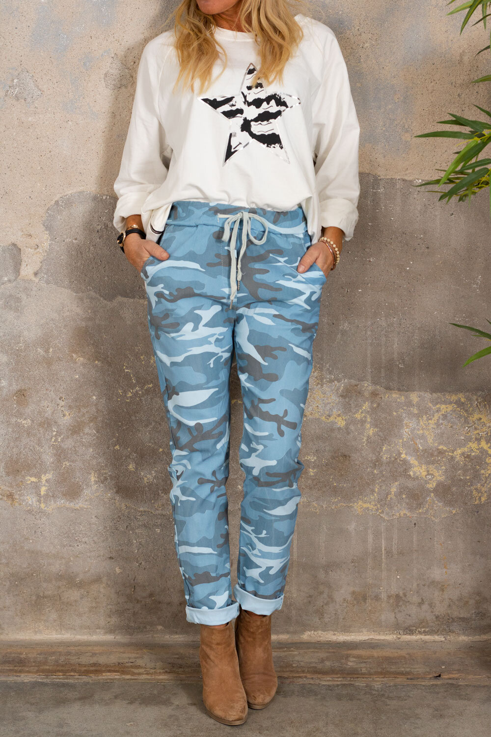 Stretchy pants 3385 - Camouflage - Blue