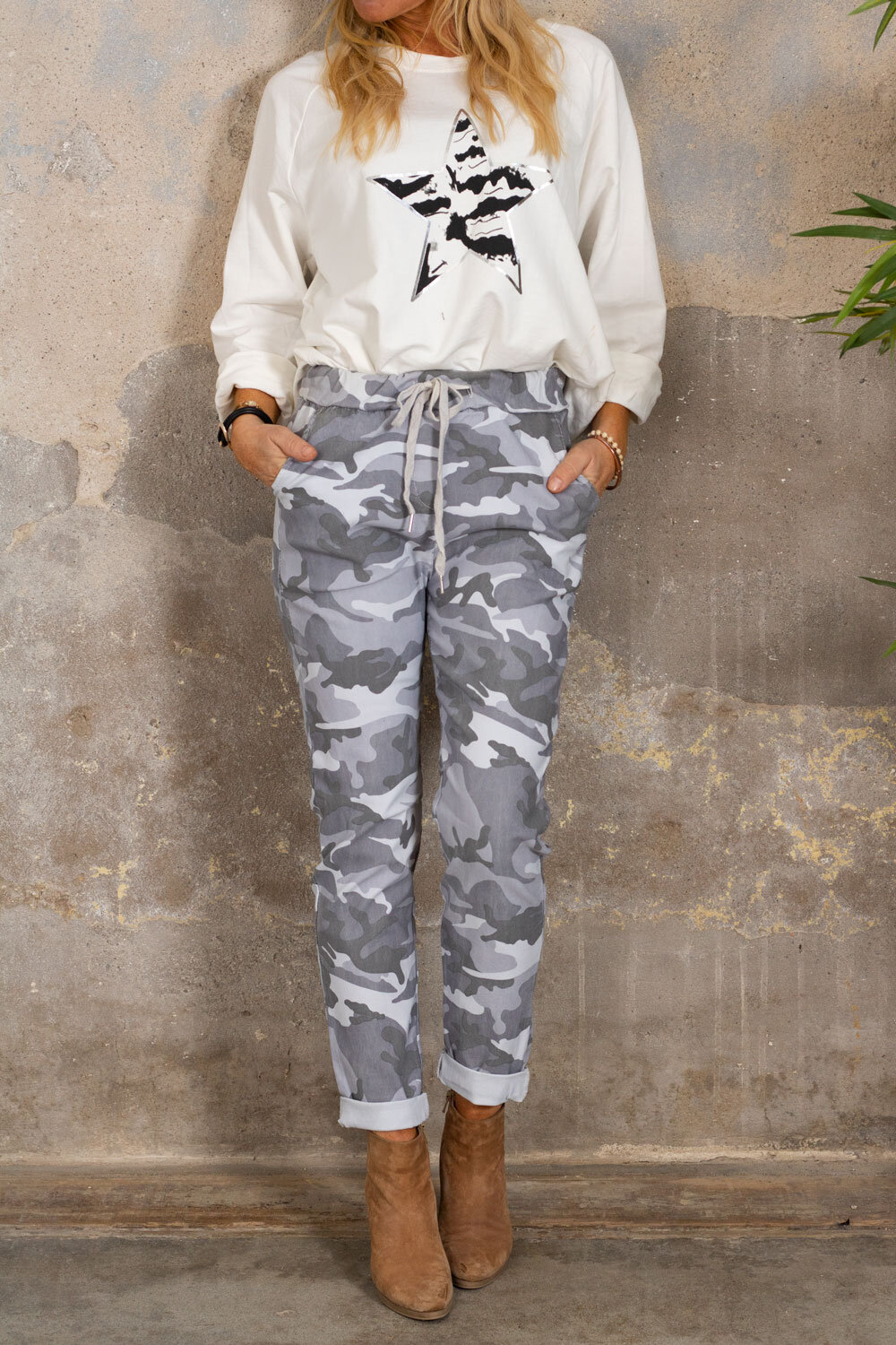 Stretchy pants 3385 - Camouflage - Gray/White