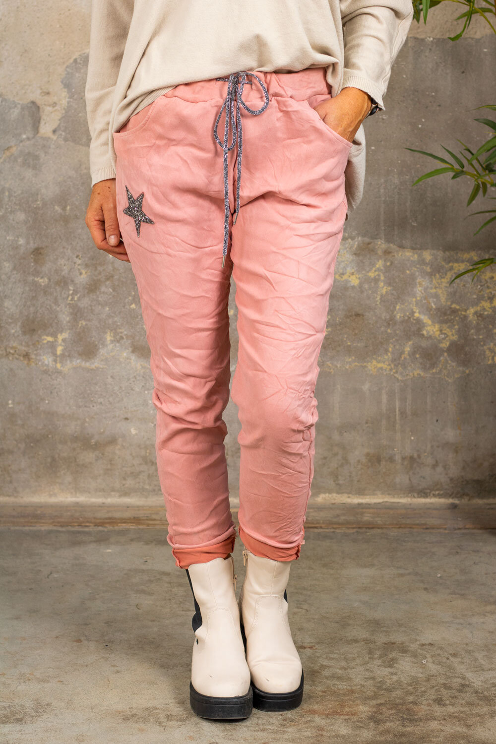 Stretchy pants 7164 - Bling star - Pink