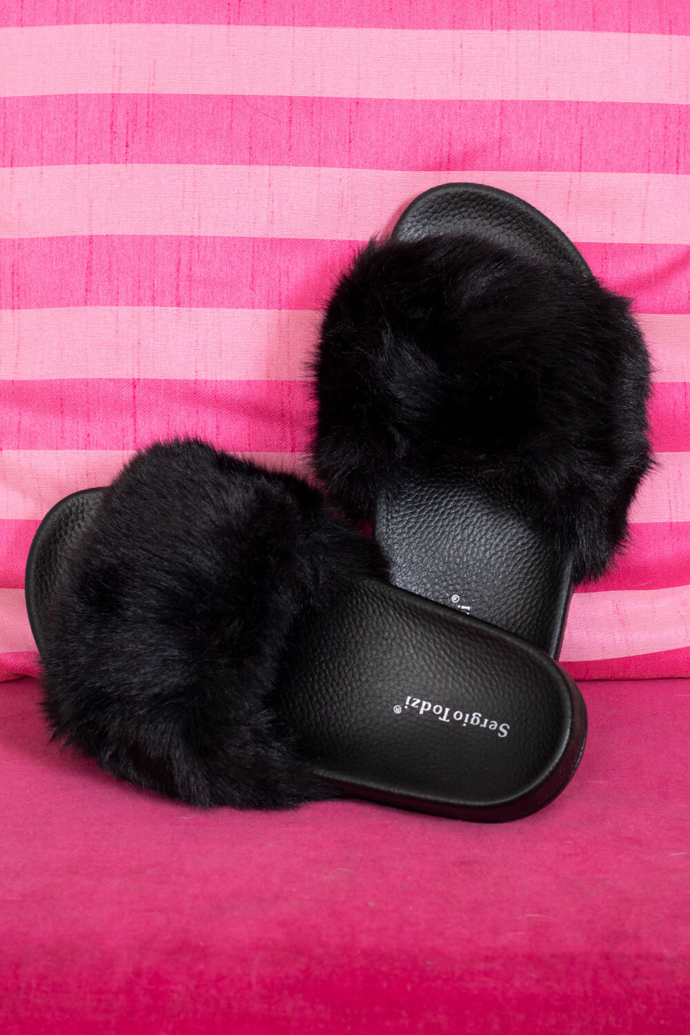 Slippers with Faux Fur - 002 - Black