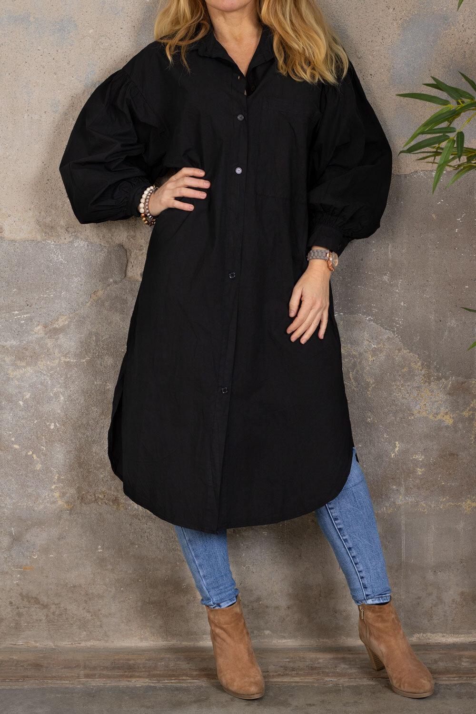 Trish long shirt - Balloon sleeves - Black