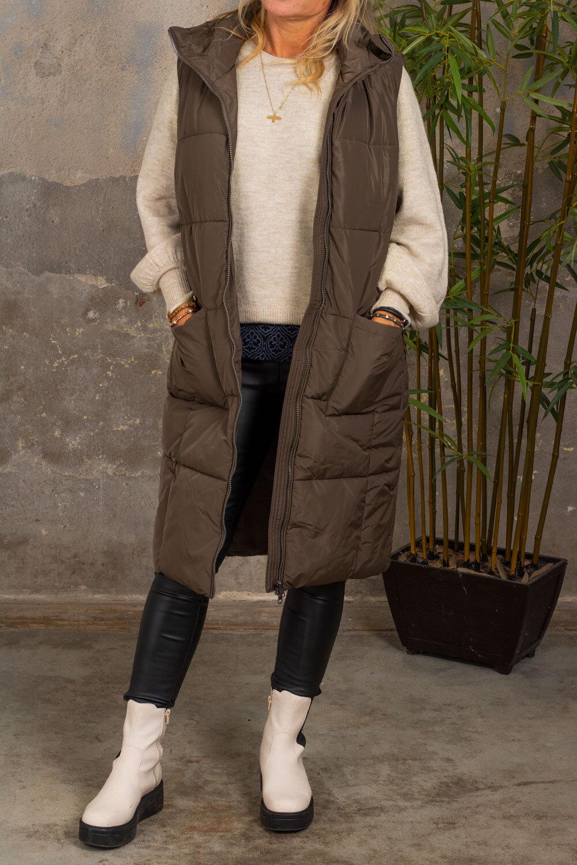 Trixie Long Cover Vest - Pockets - Marron