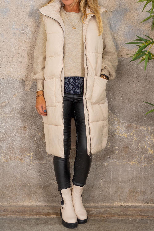 Trixie Long Cover Vest - Pockets - Beige