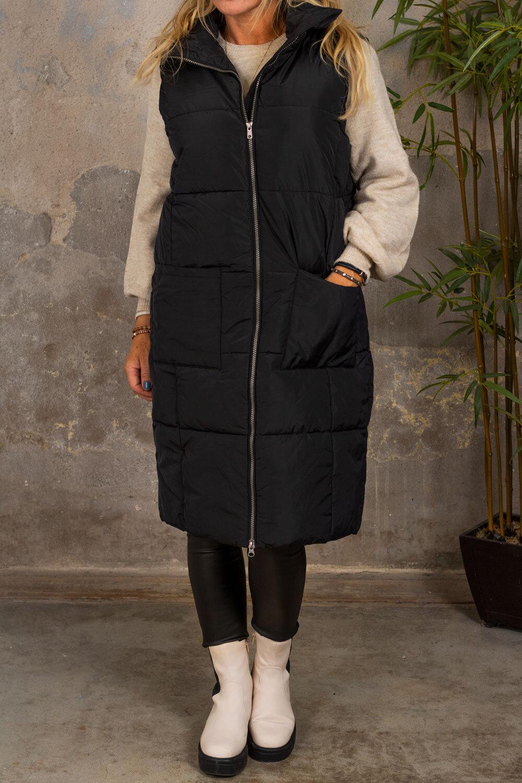 Trixie Long Cover Vest - Pockets - Black