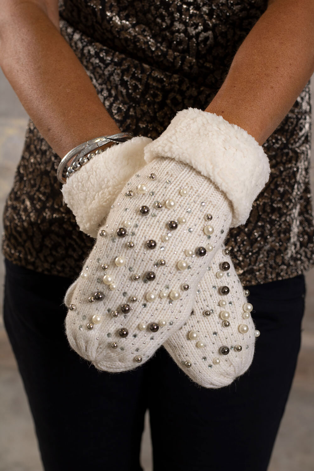 Mittens - Pearls and Bling - Cream