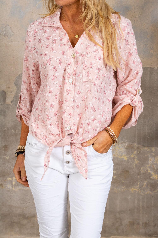 Viola Knit Shirt - Linen Fabric & Floral - Pink