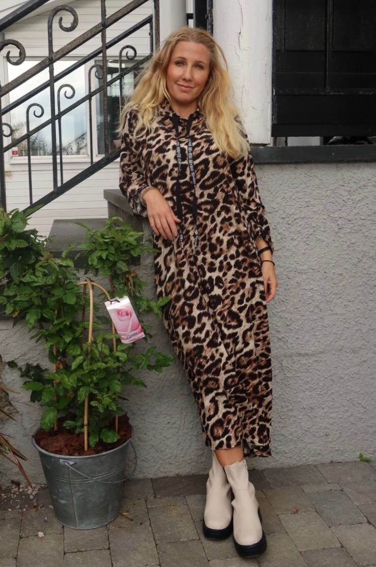 Whitney Leopard Dress - Hood and Strings