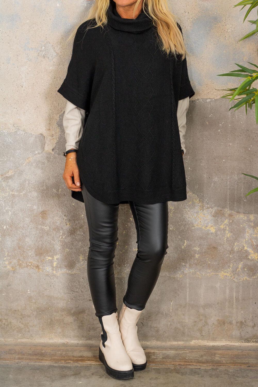 Yoselin Knitted Poncho - Polo & Button - Black