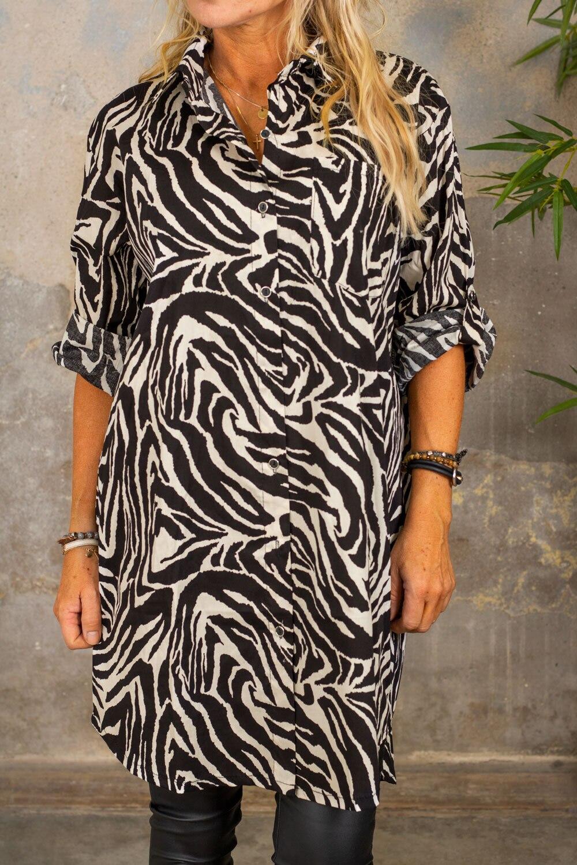 Zelda Long Shirt - Zebra - Black / Cream