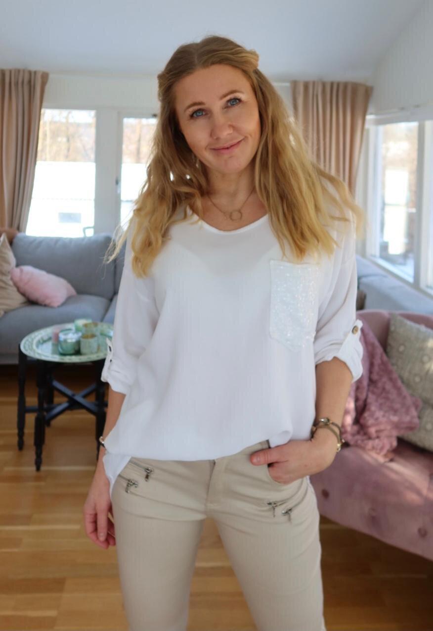 Aisha top - Sequin pocket - Cream